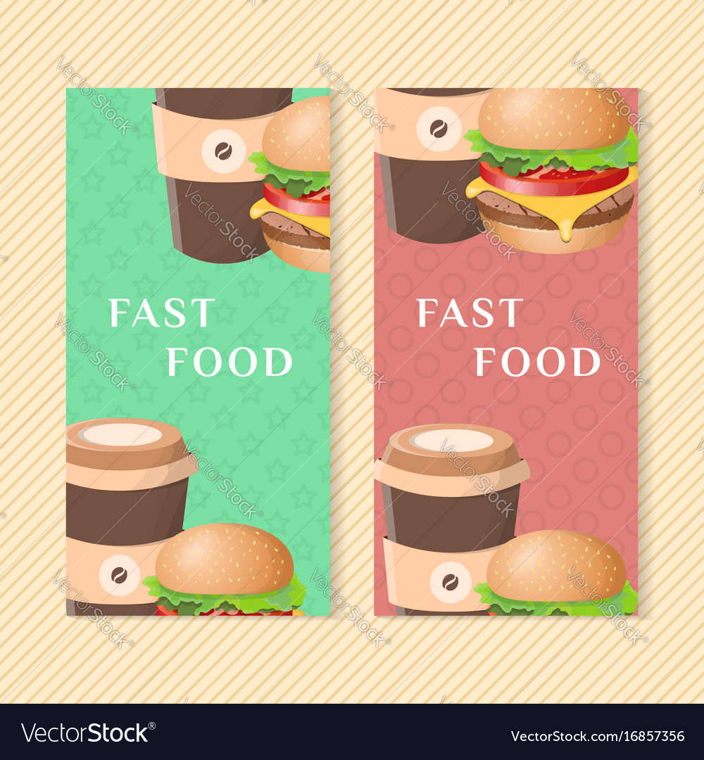 Fast food banners with burger and coffee graphic vector image