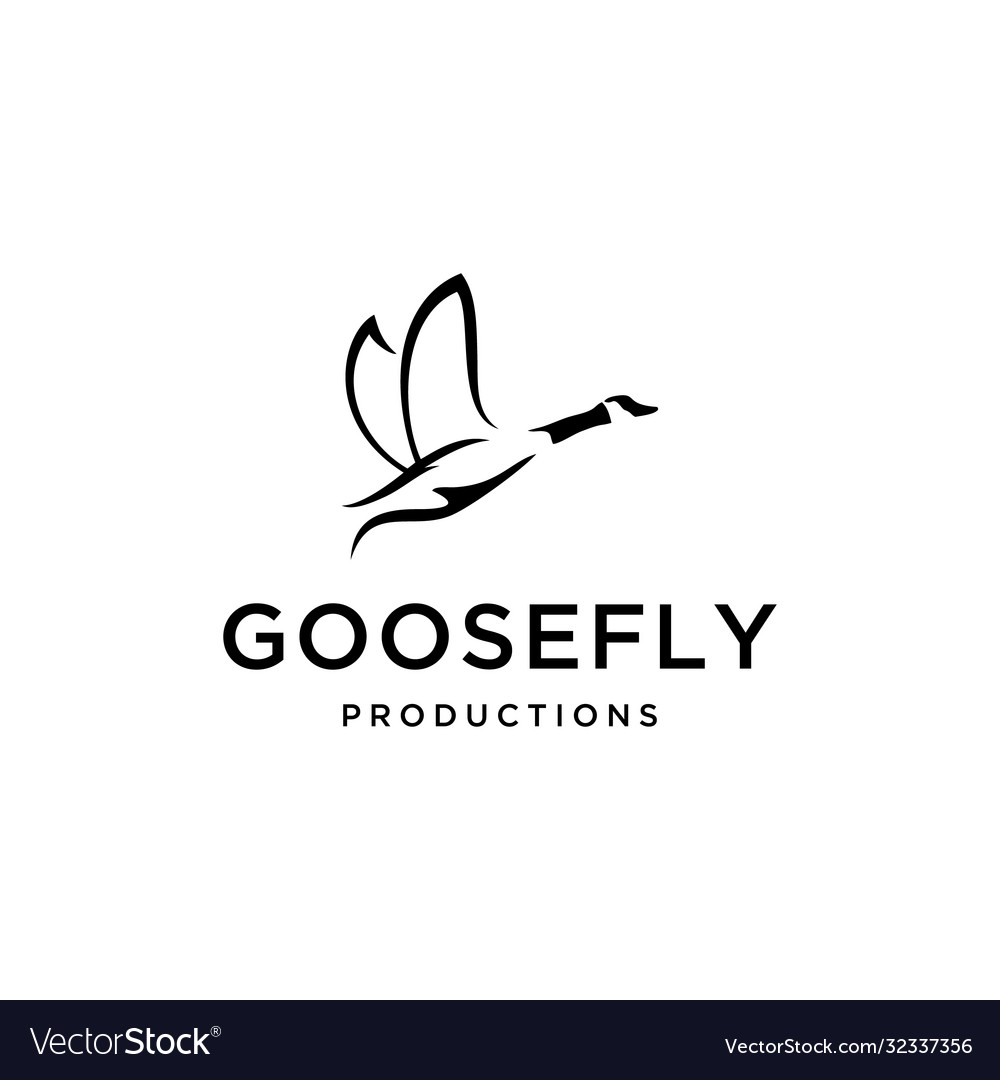 Flying goose with both wings