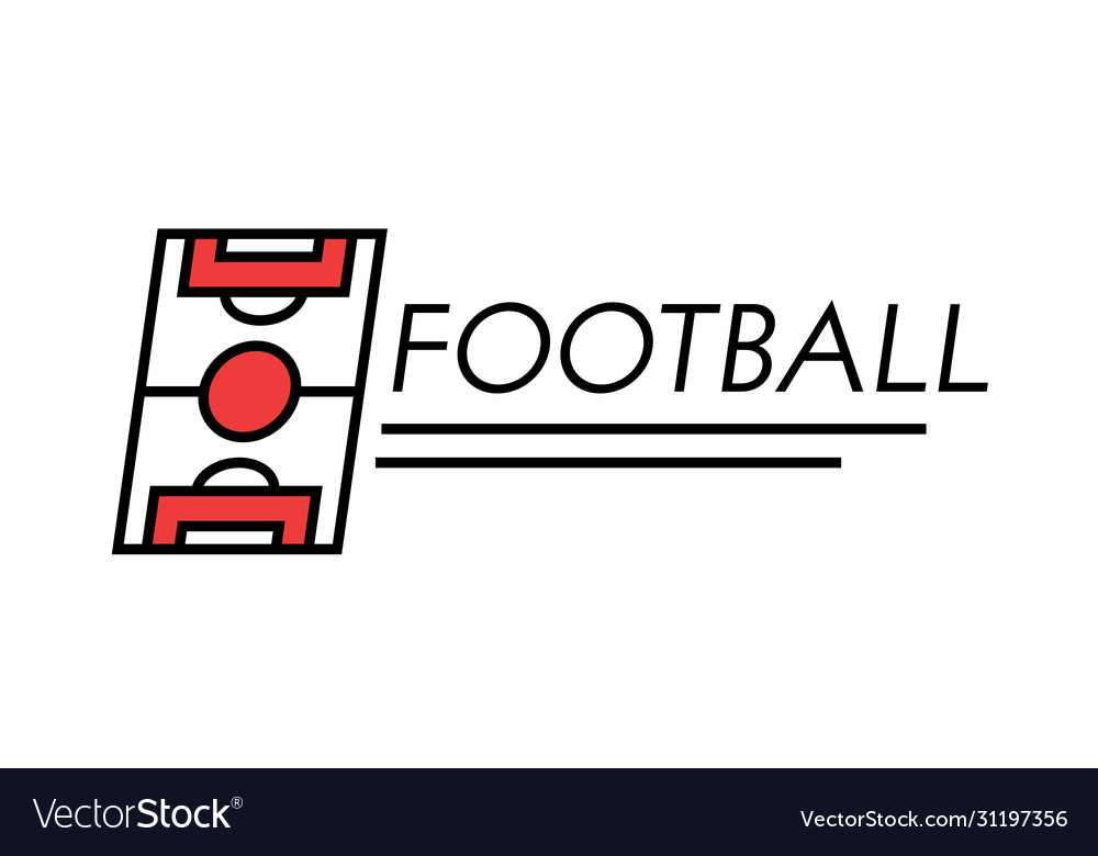 Football banner linear icon with typography and