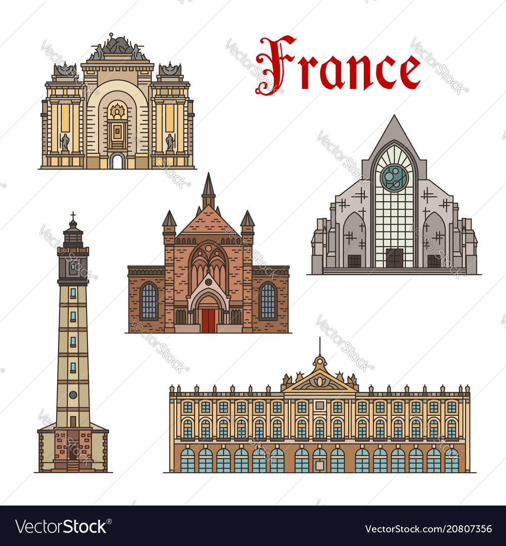 France travel landmarks facade buildings vector image