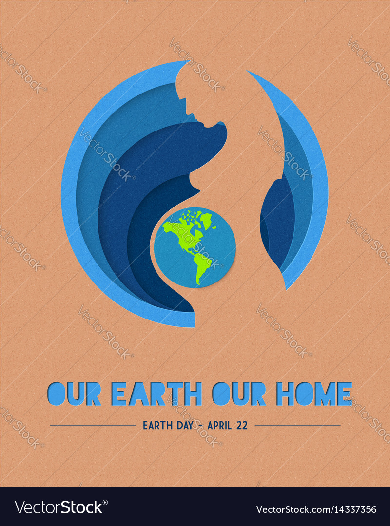 Happy earth day paper mother nature vector image