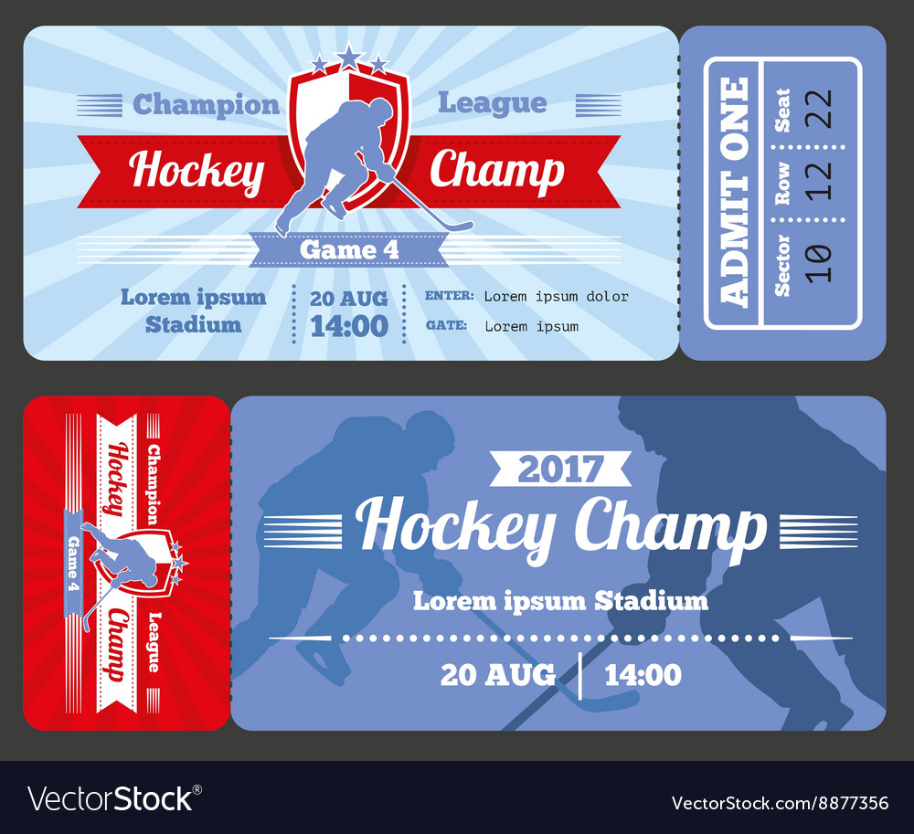 Hockey sports ticket card modern design