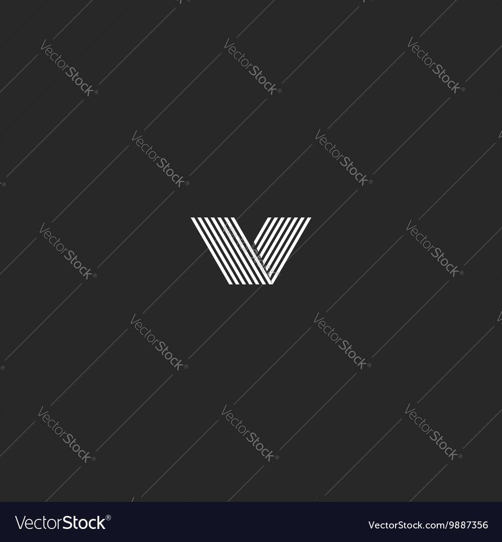 Monogram V letter hipster logo black and white vector image