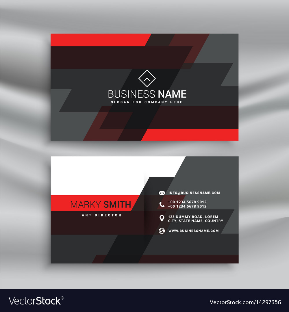 Red and black business card template layout in vector image fbccfo