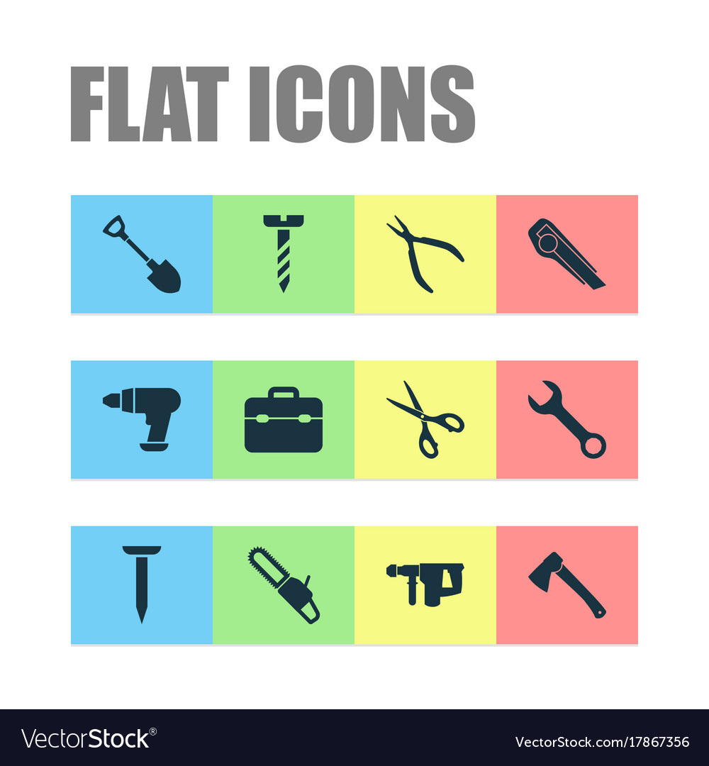 Repair icons set collection of tool saw hammer