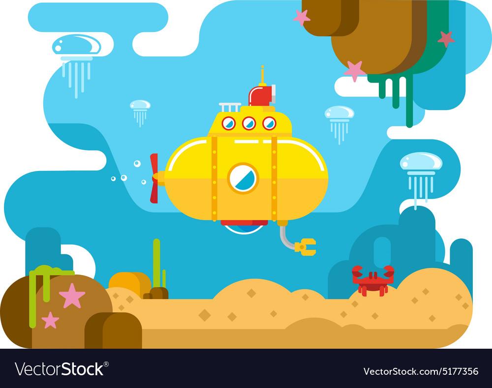 Submarine Under Water Flat