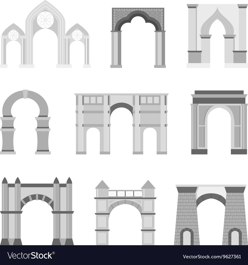 Arch set isolated on white