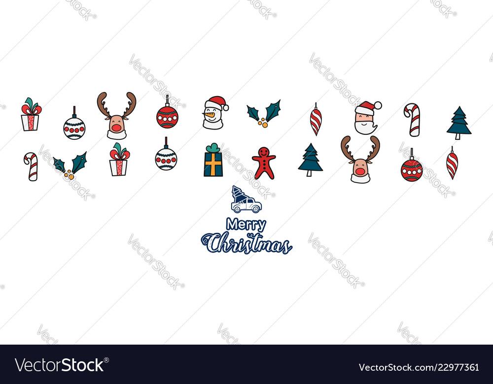 Christmas line art color icons element banner
