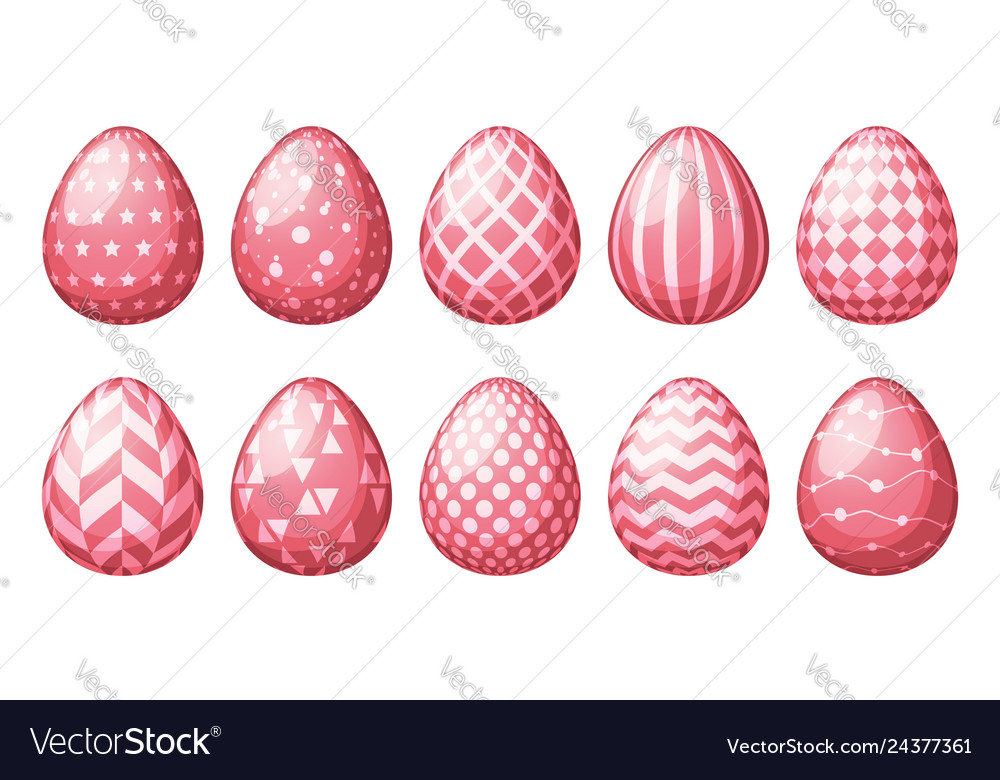 Collection eggs with geometric patterns happy