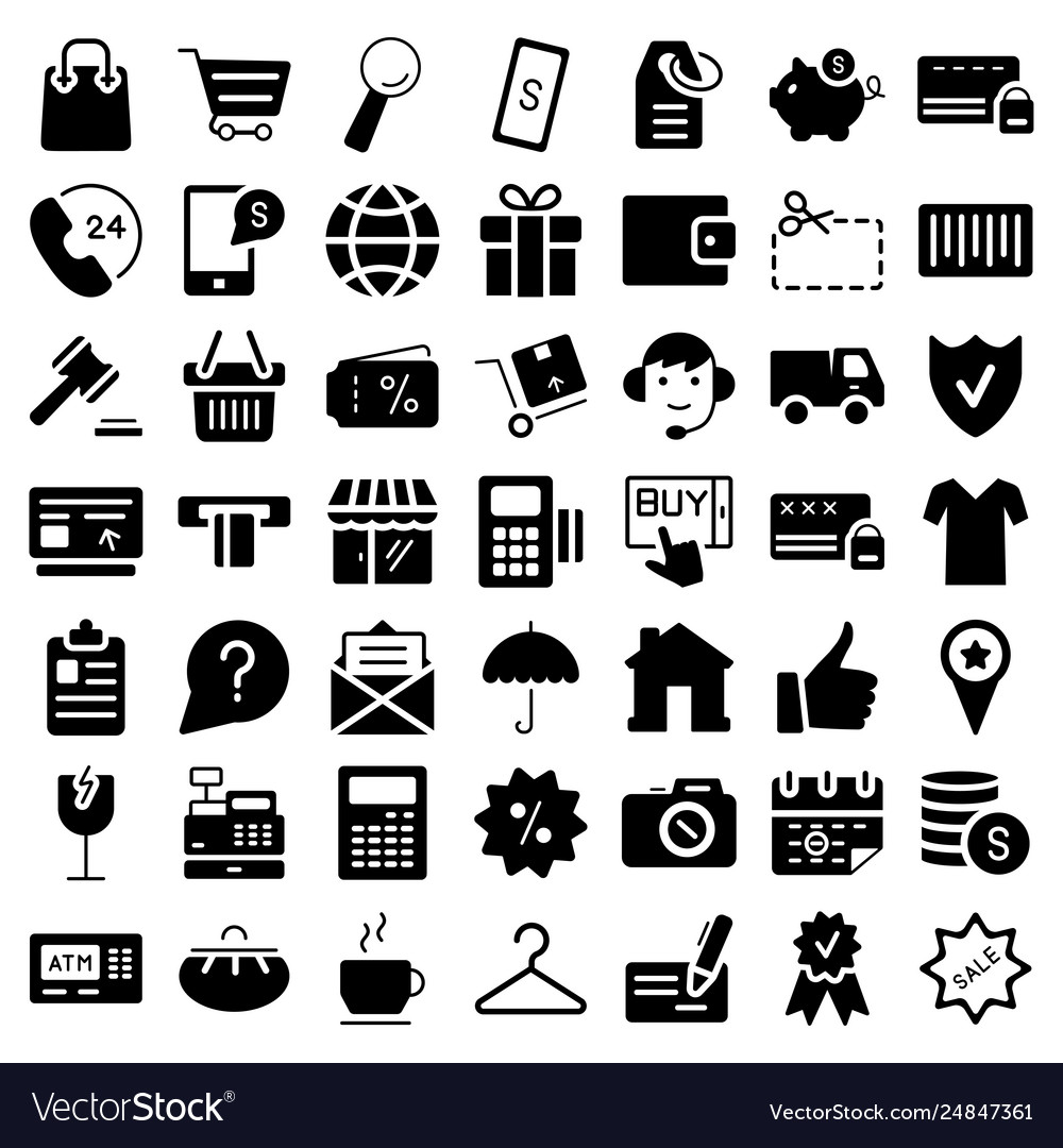 E-commerce flat web icons set symbols