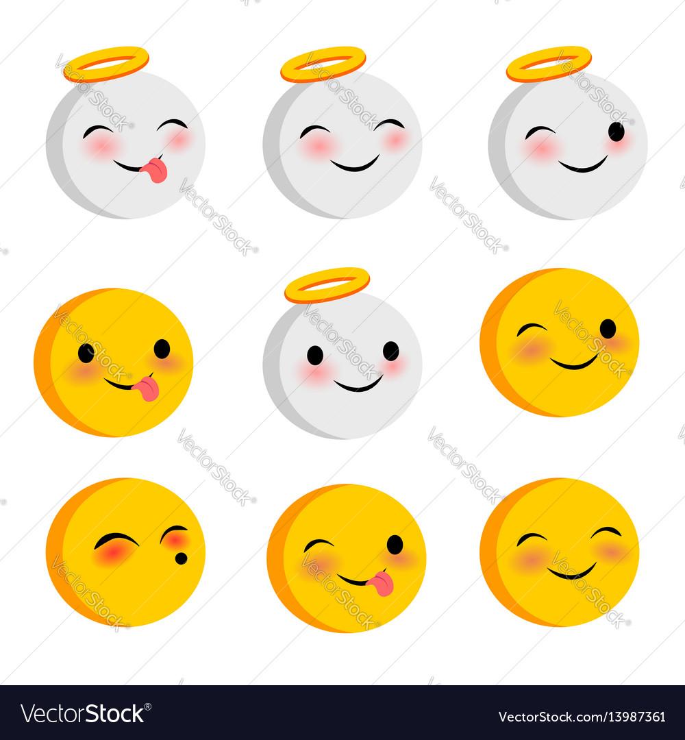 Emotional positive faces angel smiles set