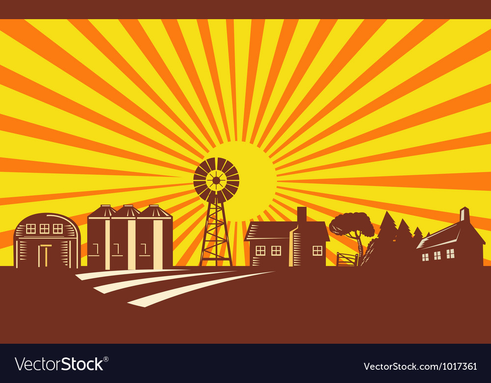 Farm Barn Silo Windmill Retro vector image