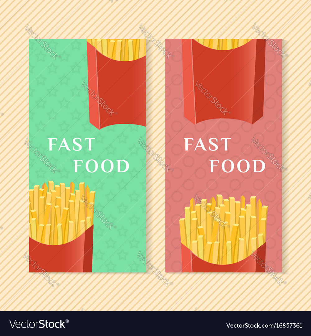 Fast food banners with french fries graphic