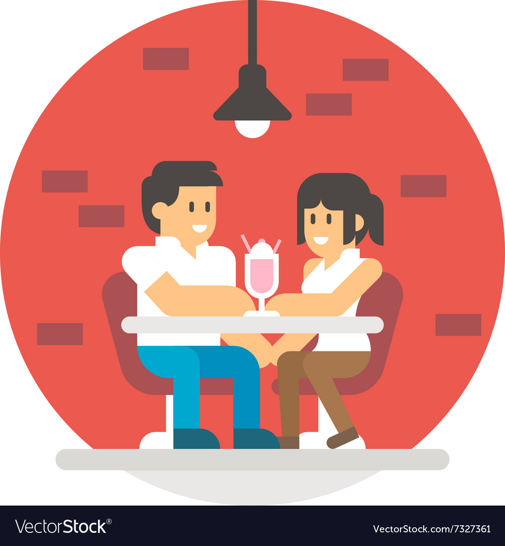 Flat design couple sharing milkshake