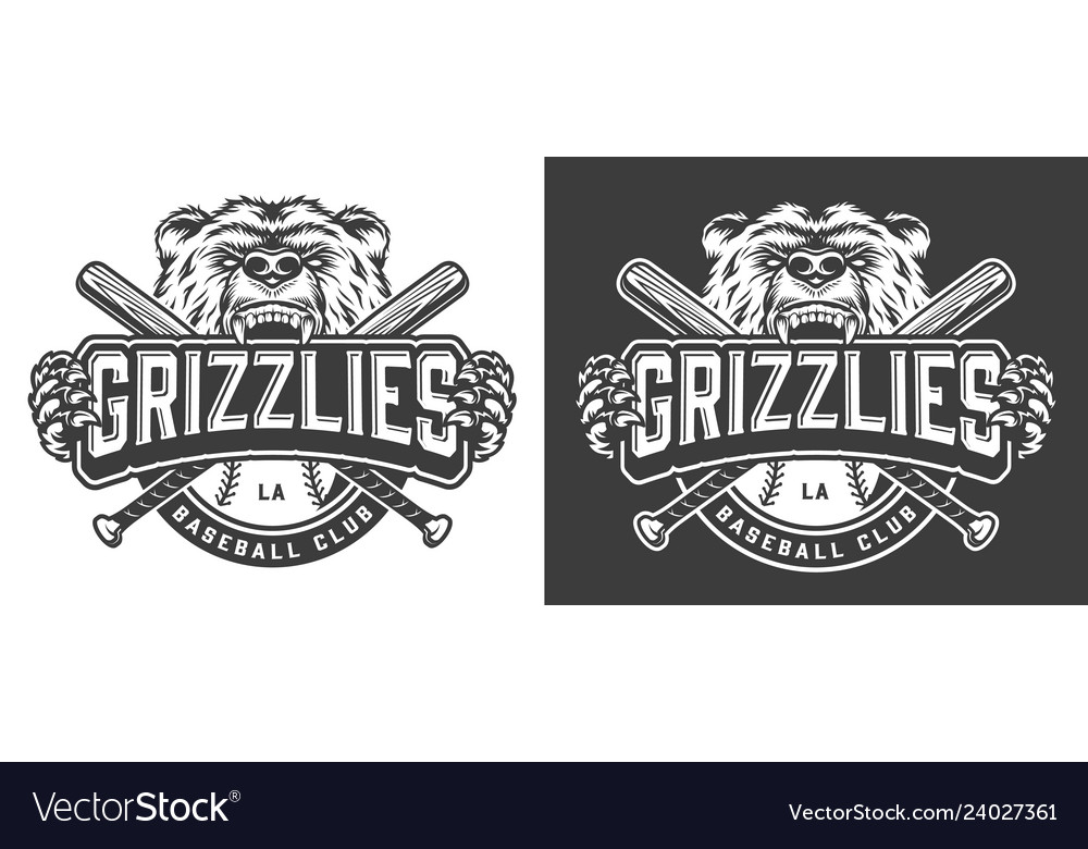 Grizzly bear mascot vintage badge