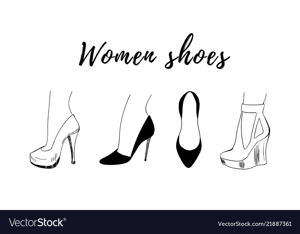 Hand-drawn fashion collection of woman shoe