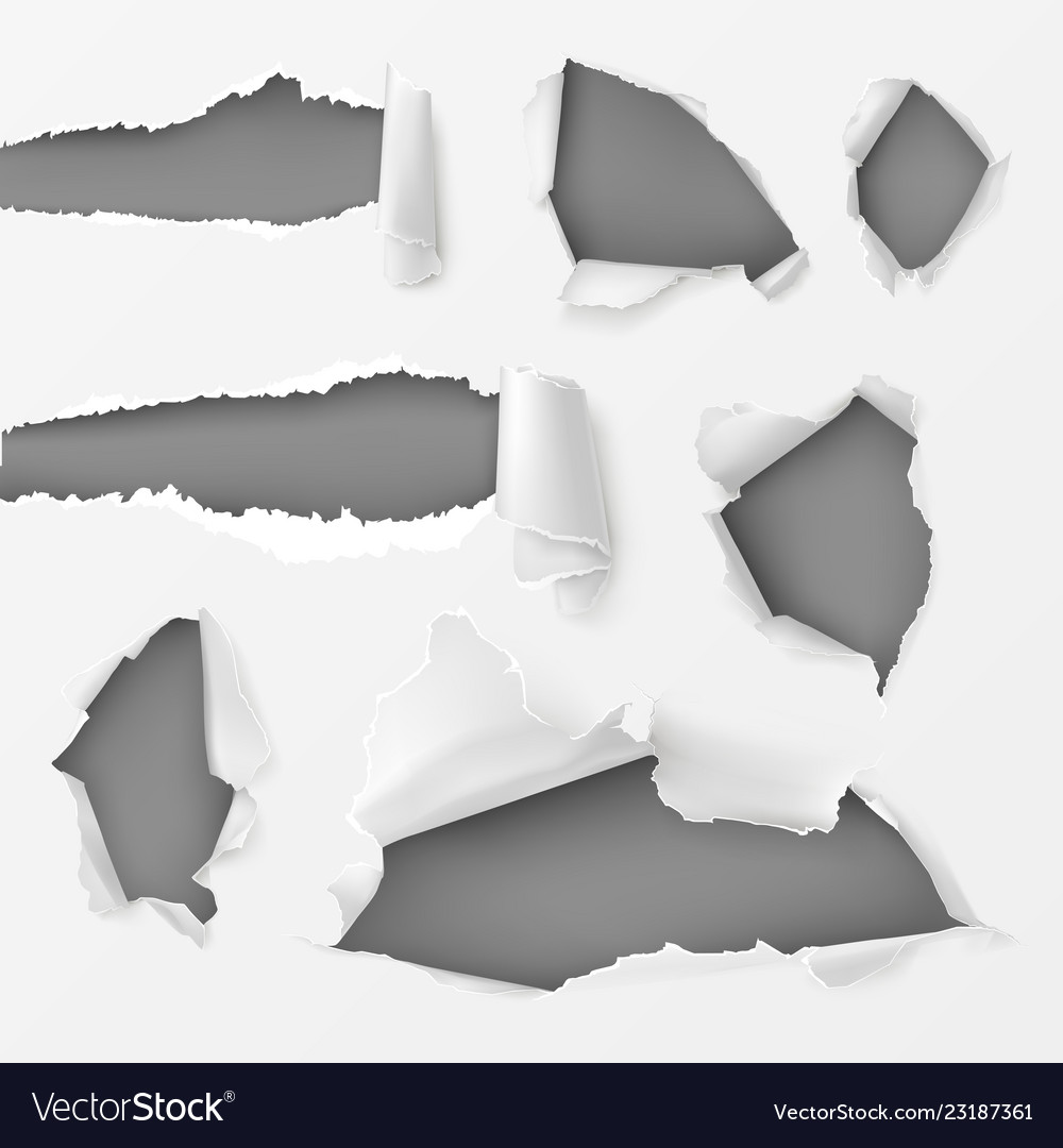 Holes and gaps in white background set