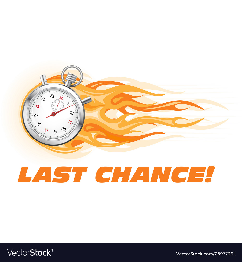 Last chance hurry up - burning stopwatch icon hot