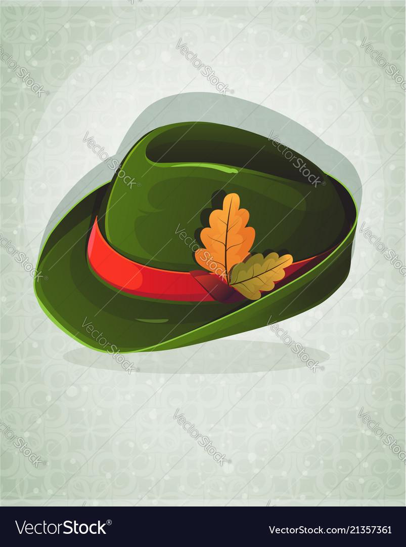 Oktoberfest hat with oak leaves Royalty Free Vector Image 6f5fbdb2174