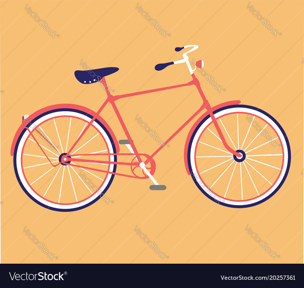 Retro bicycle flat design bike icon