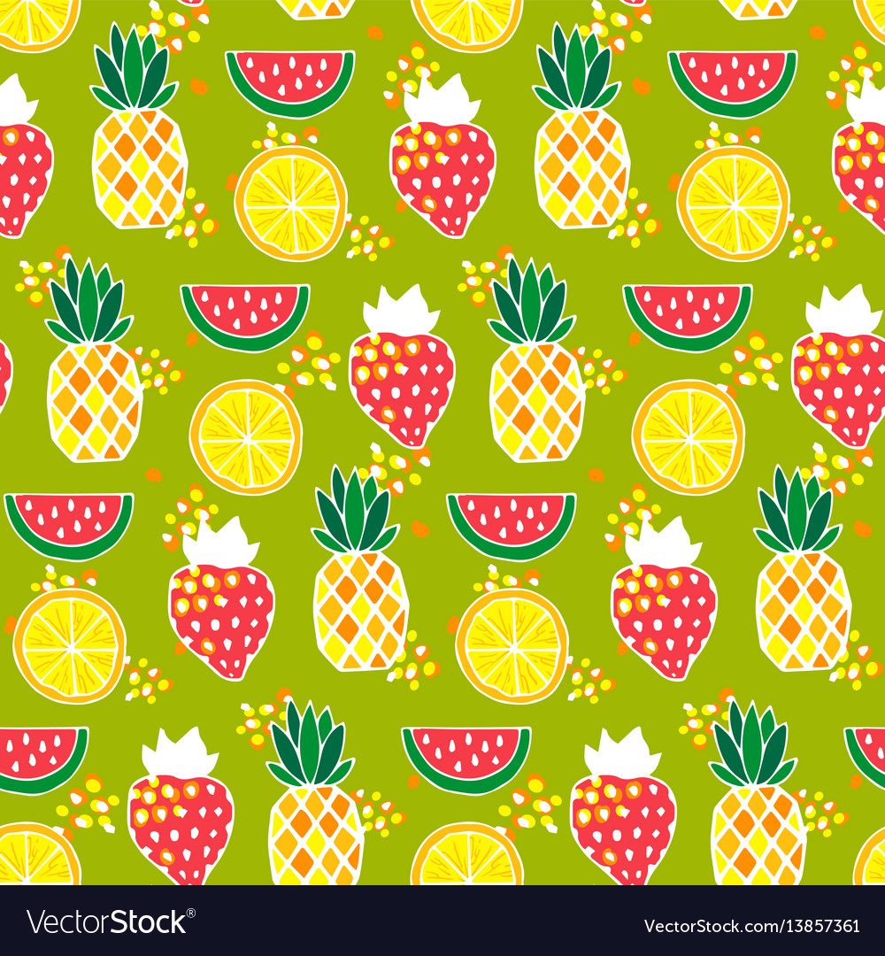 Seamless pattern with pineapples strawberries