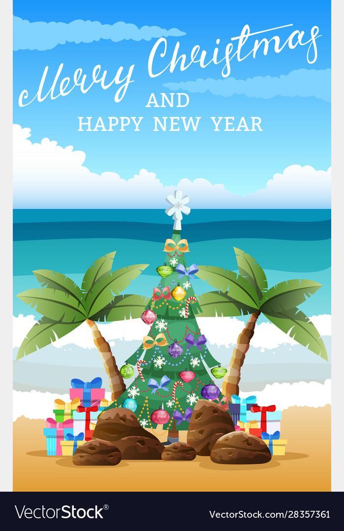 Tropical christmas beach sand palm trees boxes