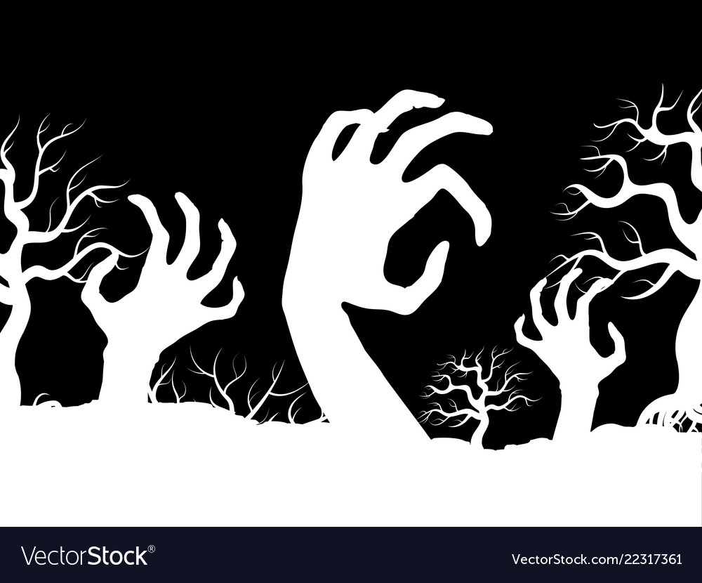 White horror zombi hands and tree silhouettes
