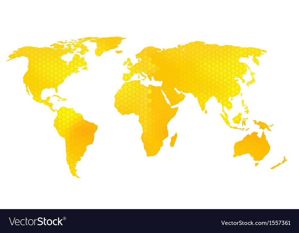 World map honeycomb pattern vector image