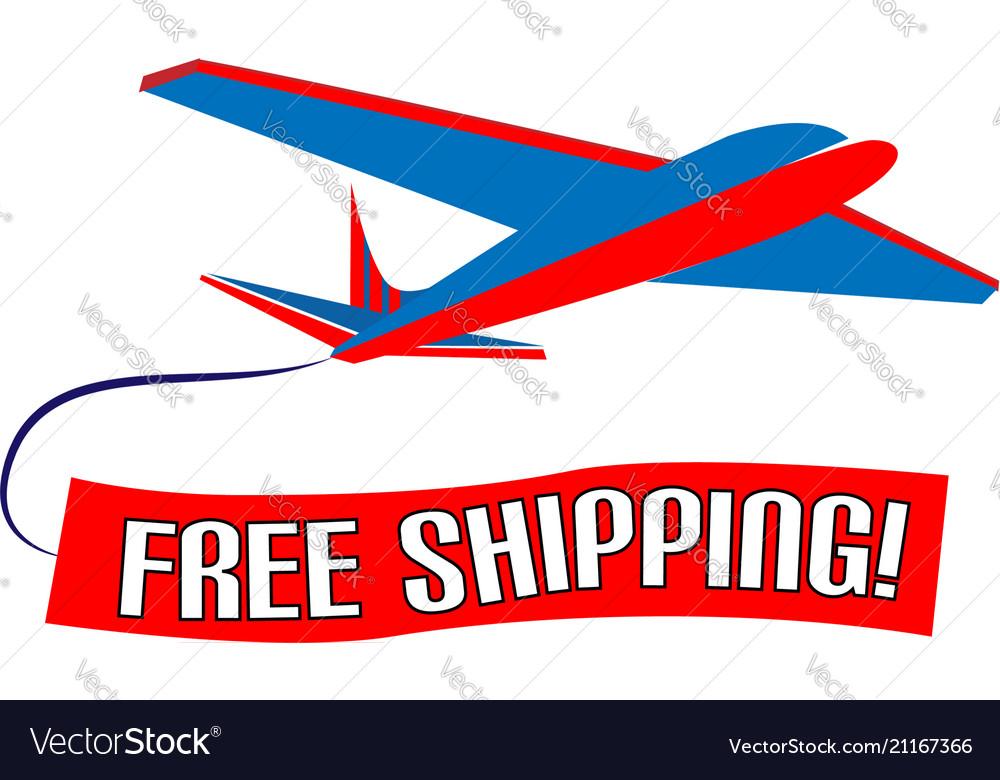 Air plane free shipping slogan design
