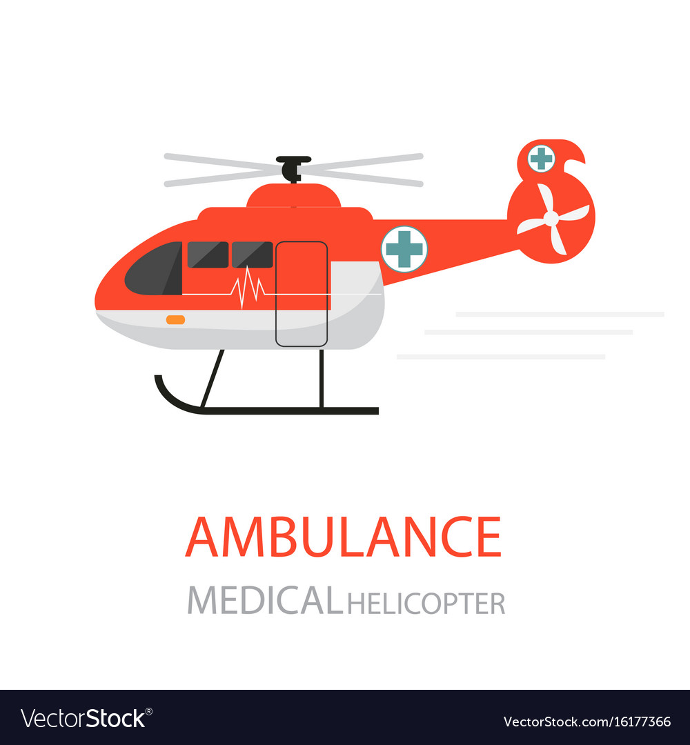 Ambulance helicopter emergency medical service vector image