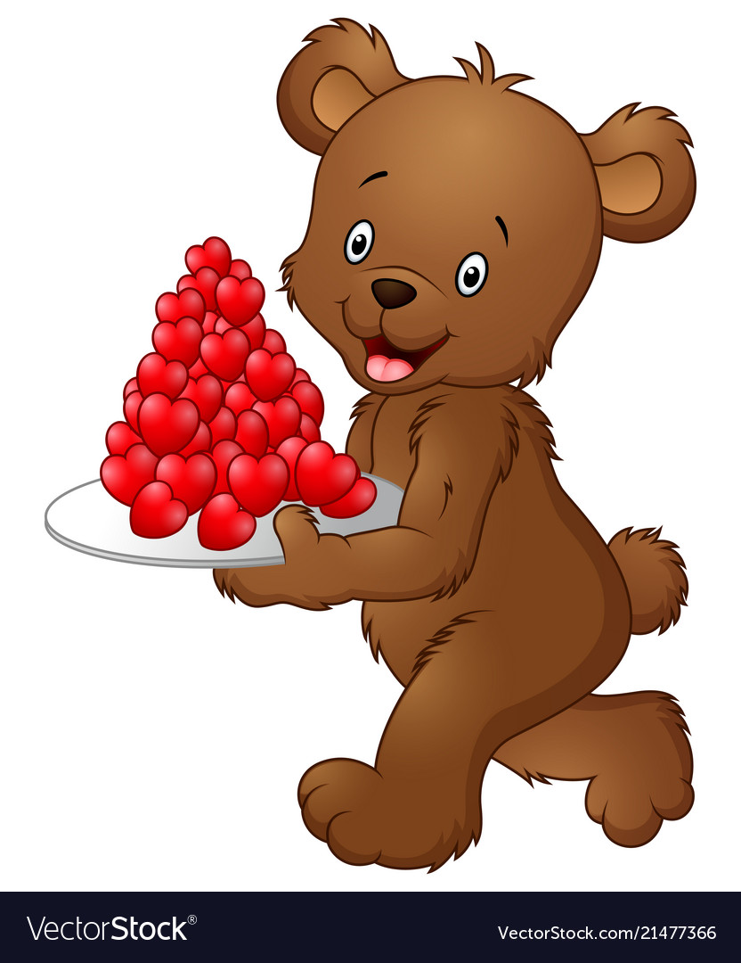Bear carrying a plate of red heart