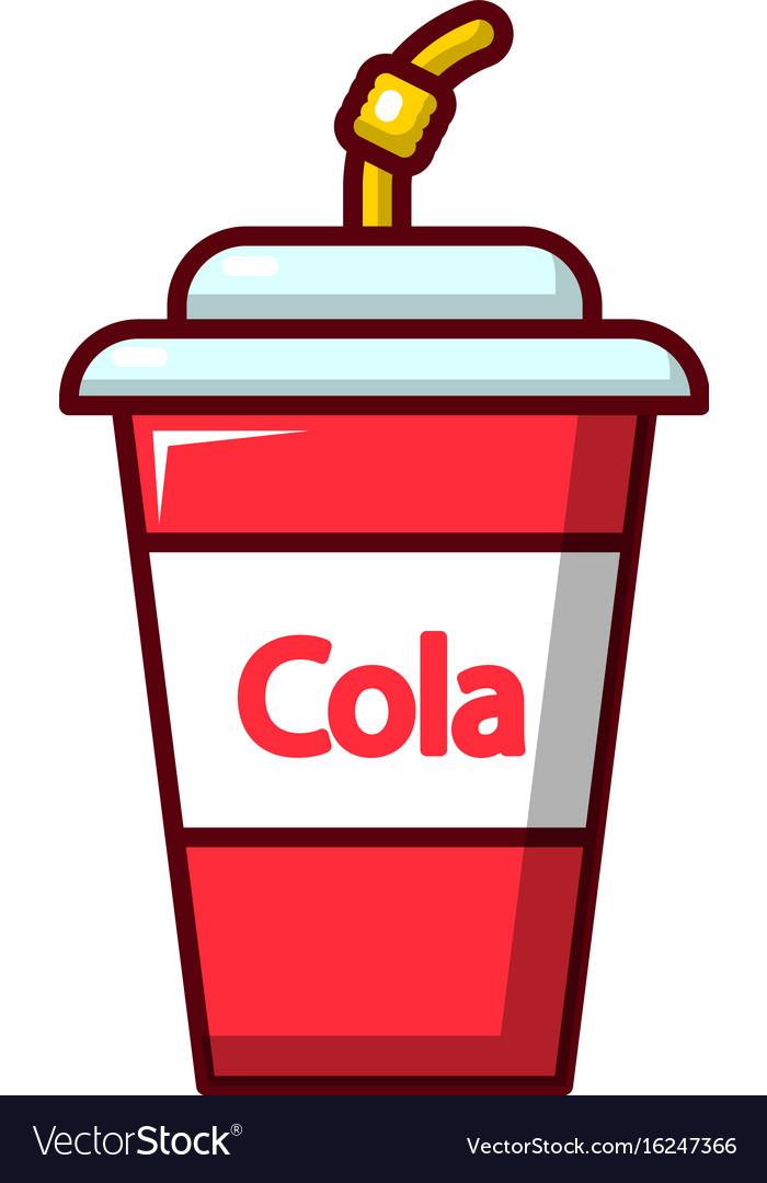 Cola plastic glass icon cartoon style vector image