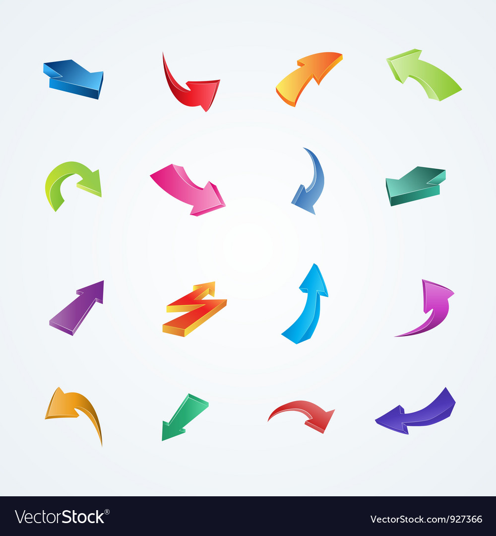 Colorful collection of 3d arrows