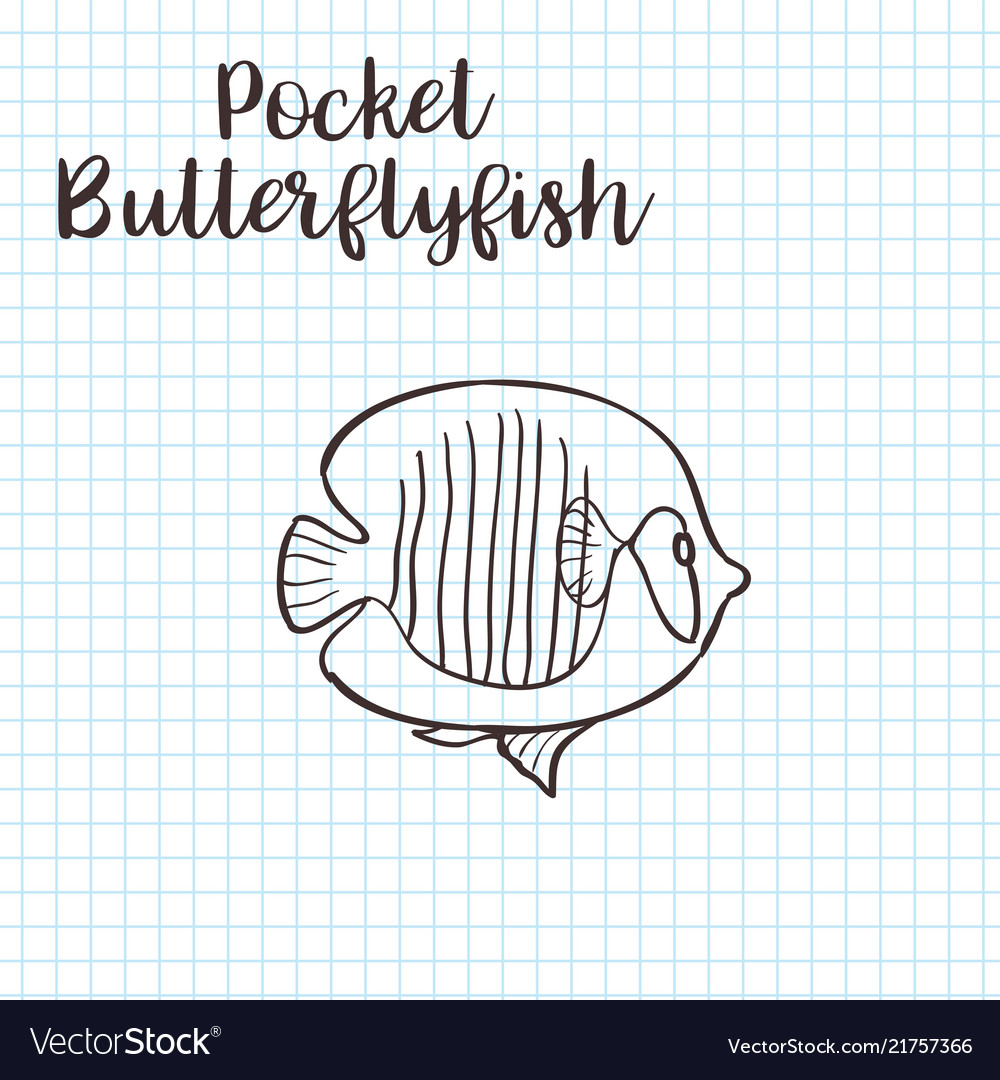 Colorless funny cartoon butterflyfish