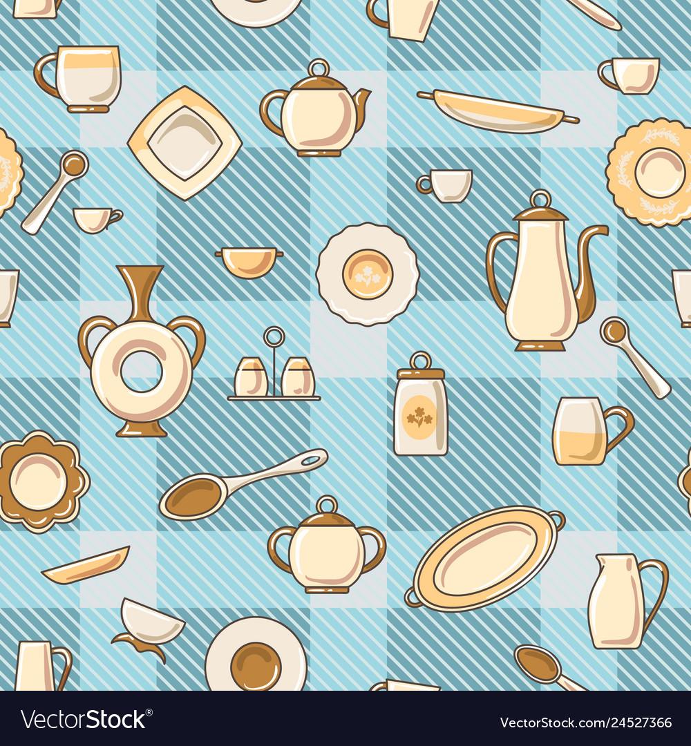 Crockery seamless pattern