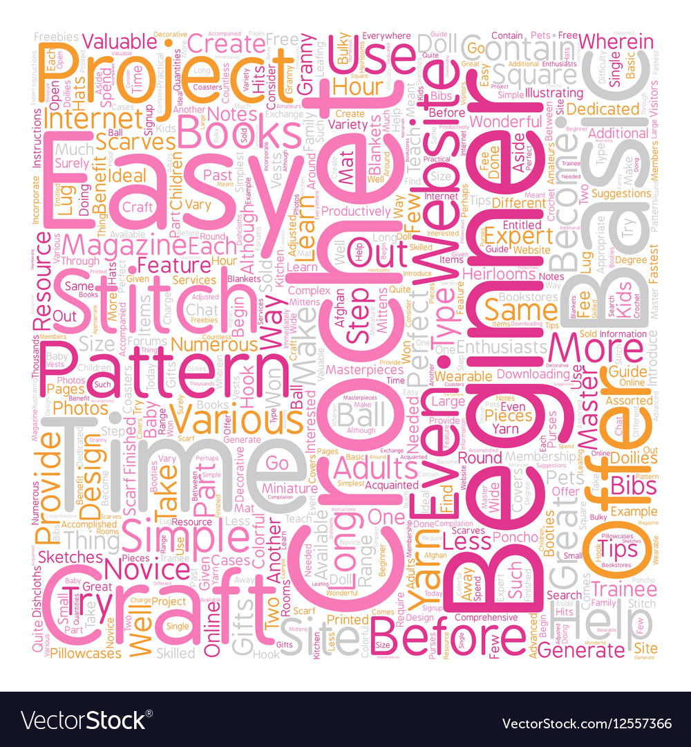 Easy crochet patterns 1 text background wordcloud