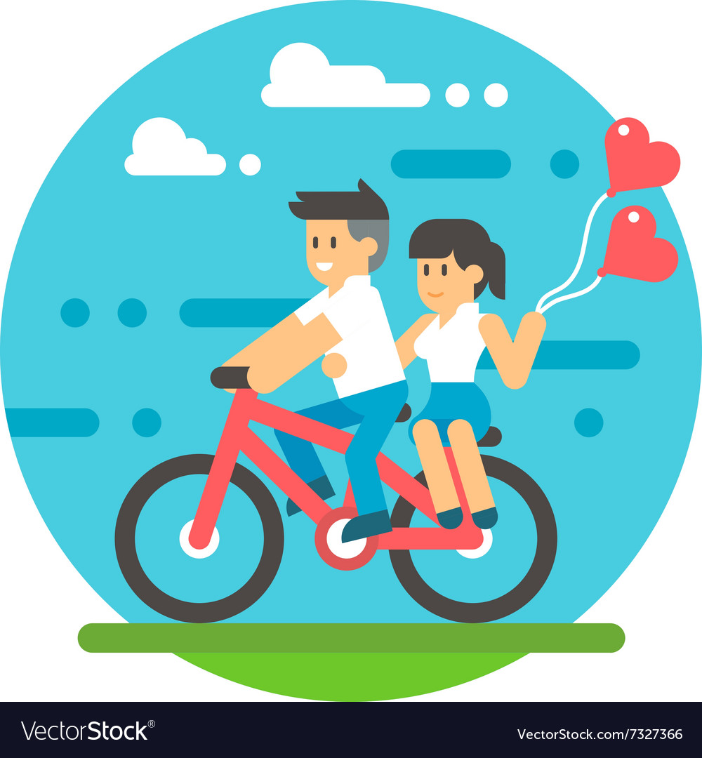 Flat design couple riding bicycle