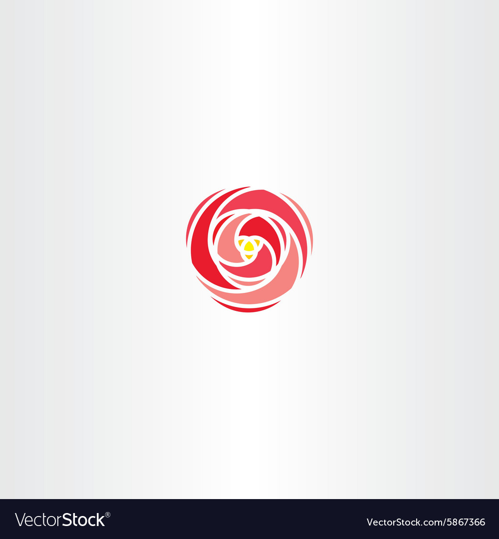Red rose icon stylized logo vector image