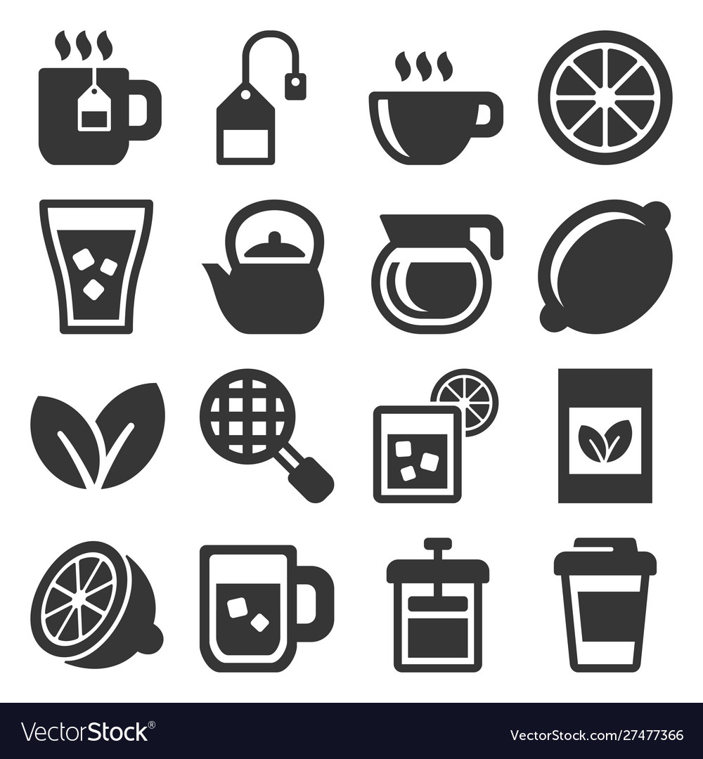 Tea icons set on white background