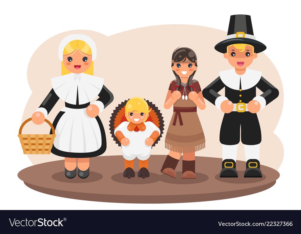 Thanksgiving children turkey pilgrim indian