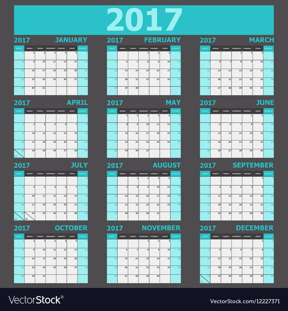 Calendar 2017 week starts on Sunday light green