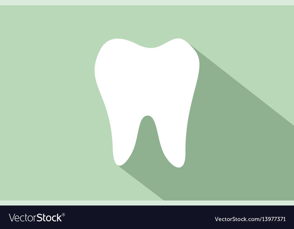 Flat tooth icon with long shadow