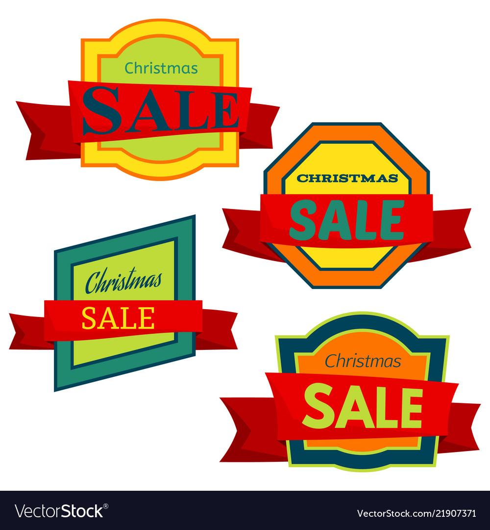 Four colorful christmas sale badges