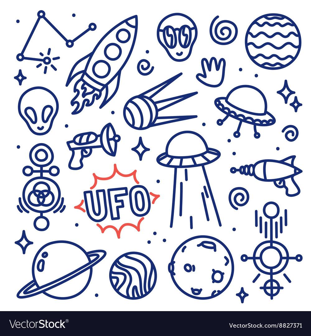 Hand drawn ink cartoon alien space set