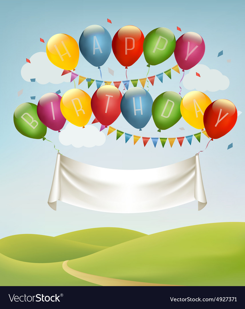 Happy birthday banner with balloons and landscape