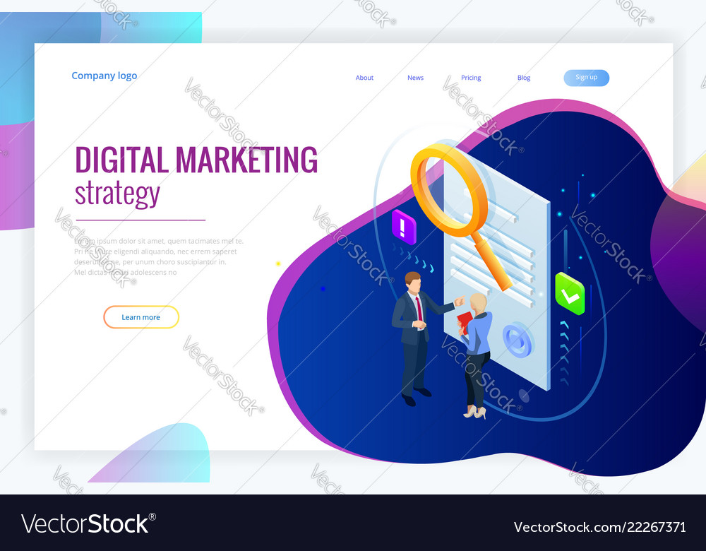 Isometric digital marketing strategy concept