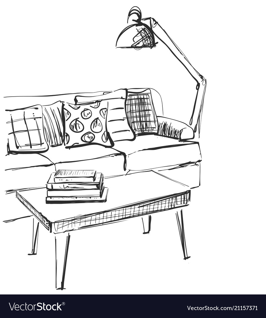 Swell Modern Interior Room Sketch Hand Drawn Sofa Pdpeps Interior Chair Design Pdpepsorg