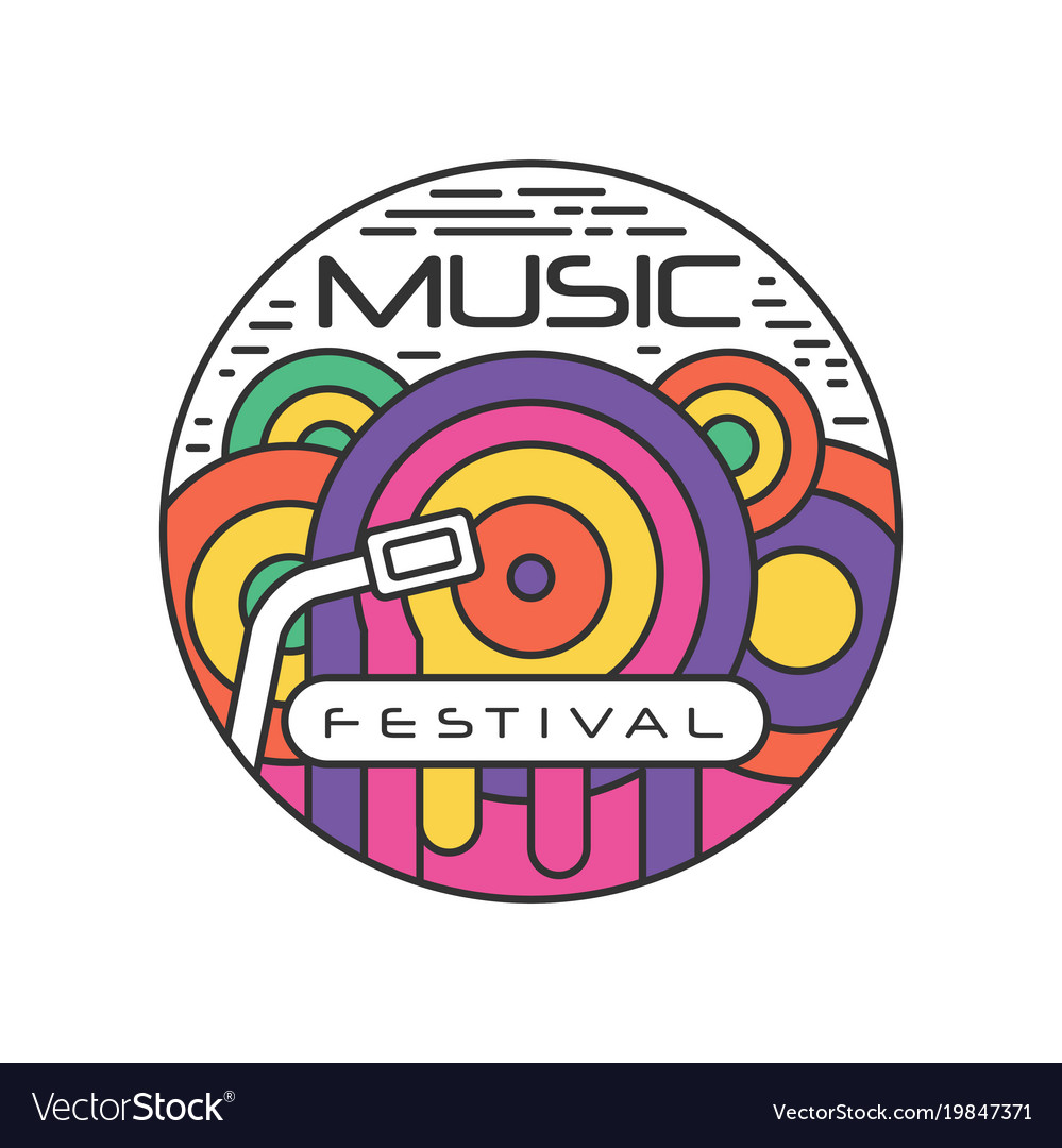 Multi-colored logo template for music festival