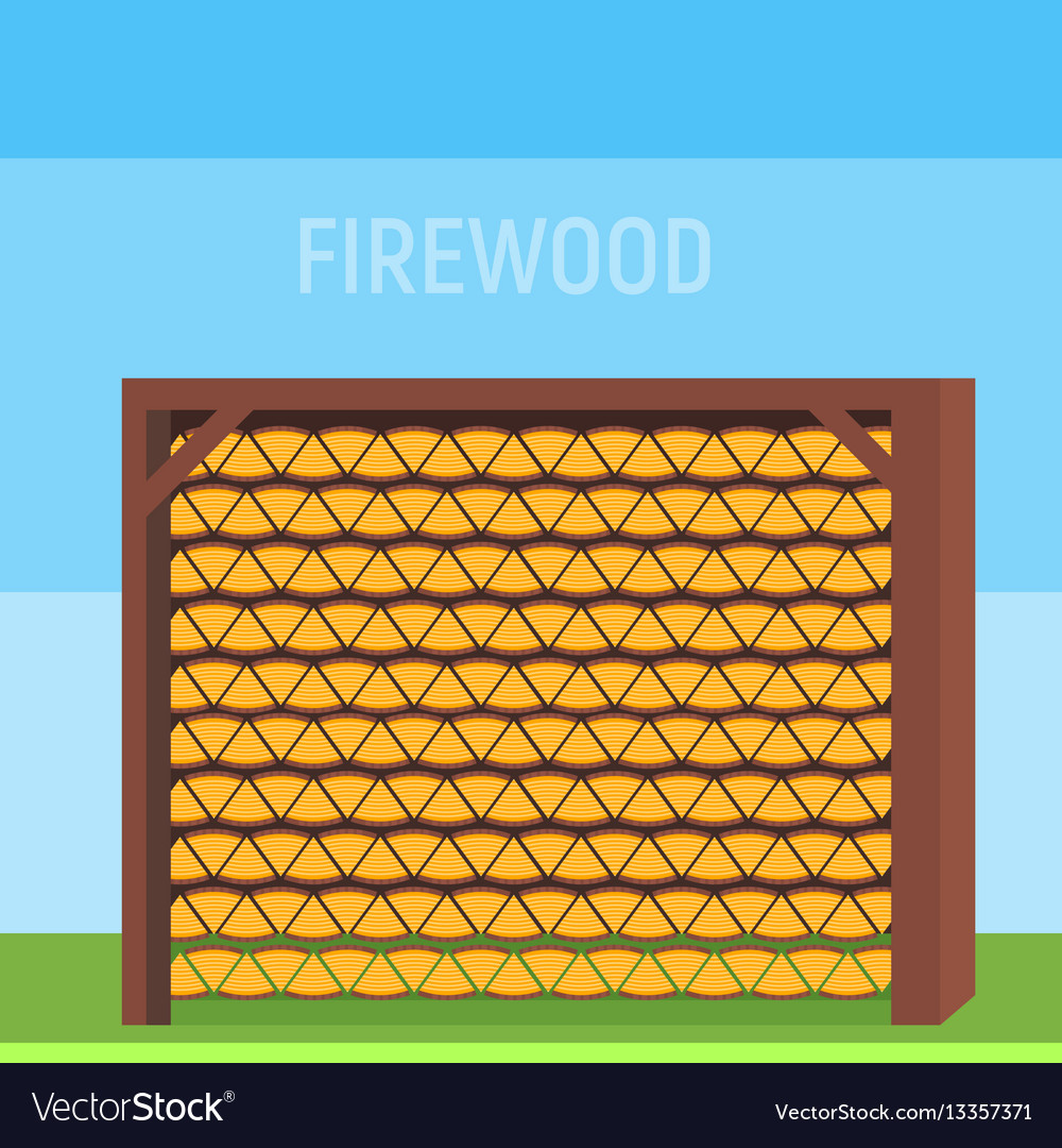 Neatly stacked wood in the shed or in the house to vector image