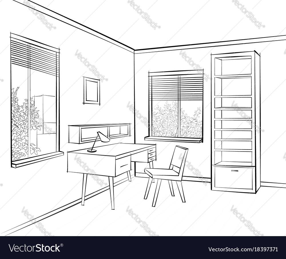 Room Interior Sketch Workplace In Sunny Room Vector Image